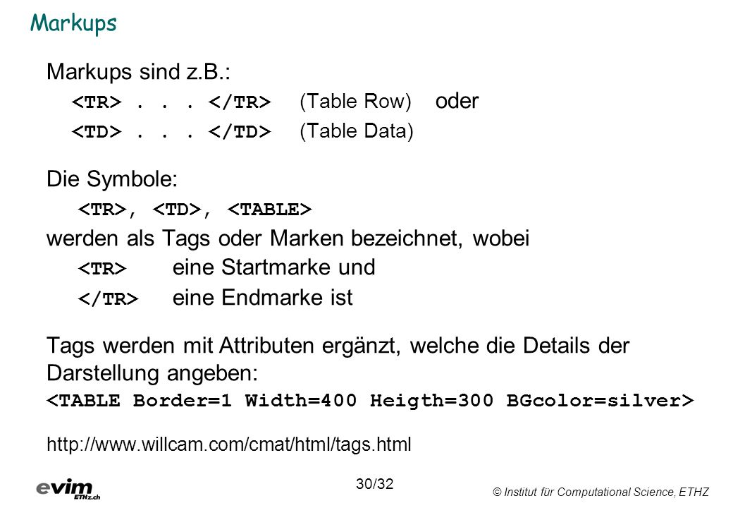 <TD> . . . </TD> (Table Data) Die Symbole: