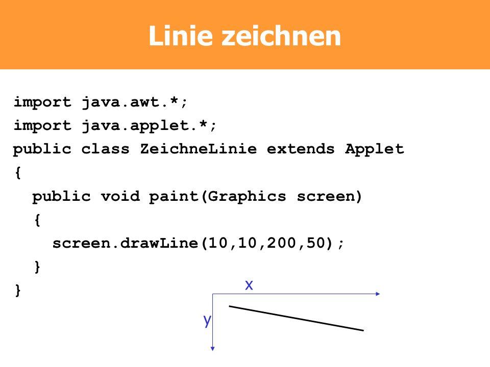Linie zeichnen import java.awt.*; import java.applet.*;