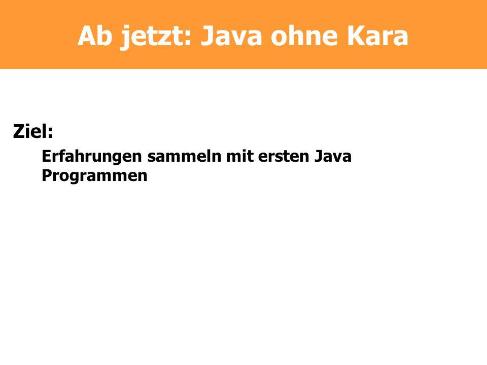 Ab jetzt: Java ohne Kara