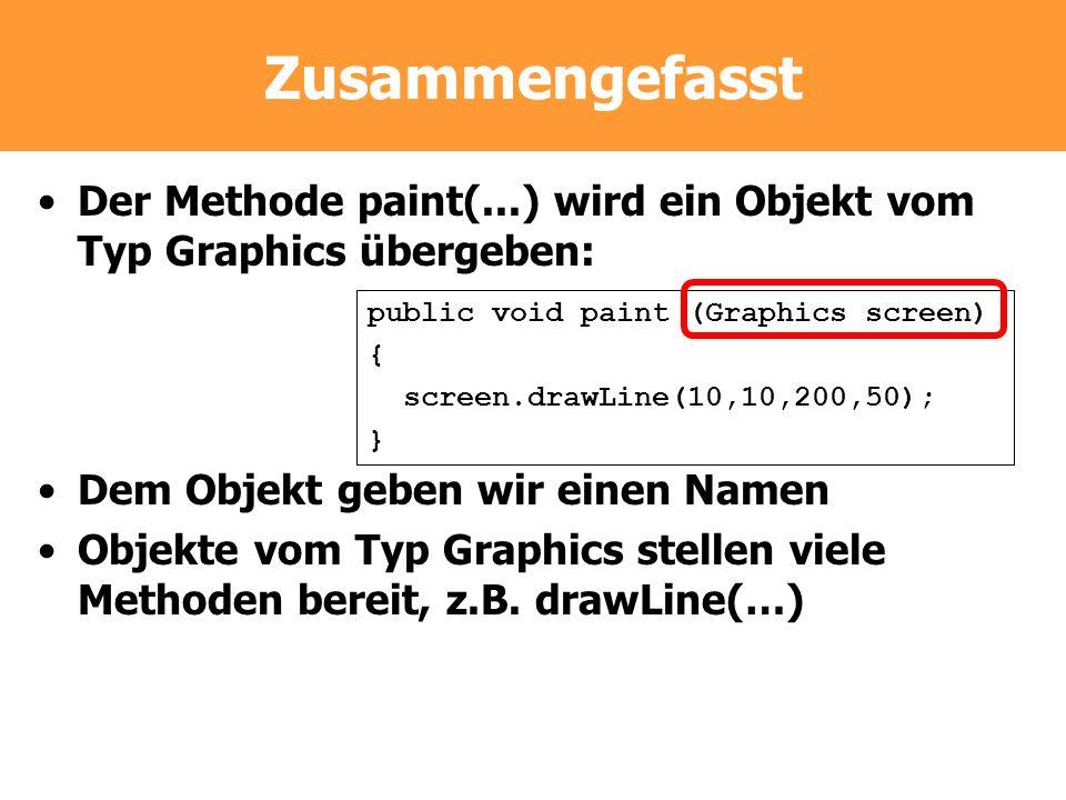 Zusammengefasst Der Methode paint(...) wird ein Objekt vom Typ Graphics übergeben: Dem Objekt geben wir einen Namen.