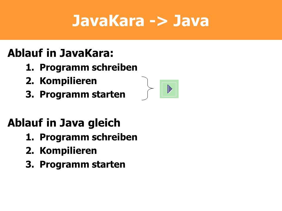 JavaKara -> Java Ablauf in JavaKara: Ablauf in Java gleich