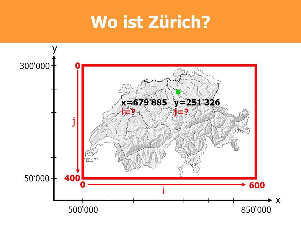 Wo ist Zürich y j i x 300'000 400 600 i= j= x=679 885 y=251 326