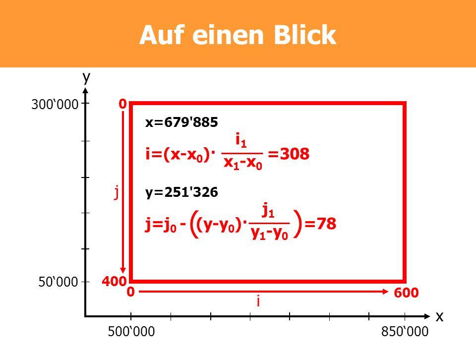( ) Auf einen Blick y i1 i=(x-x0)· =308 x1-x0 j j1 j=j0 - (y-y0)· =78