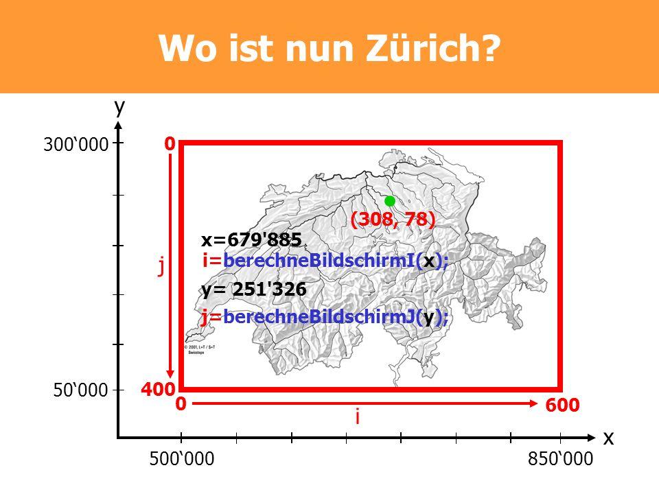 Wo ist nun Zürich y j i x 300'000 400 600 (308, 78) x=679 885