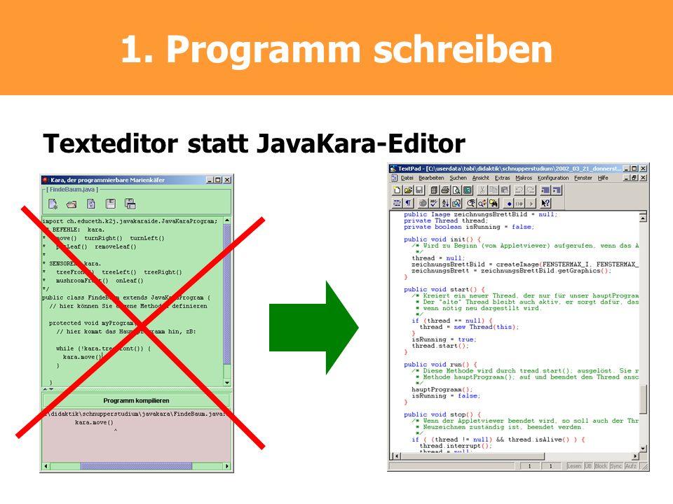 1. Programm schreiben Texteditor statt JavaKara-Editor