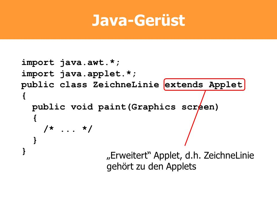 Java-Gerüst import java.awt.*; import java.applet.*;