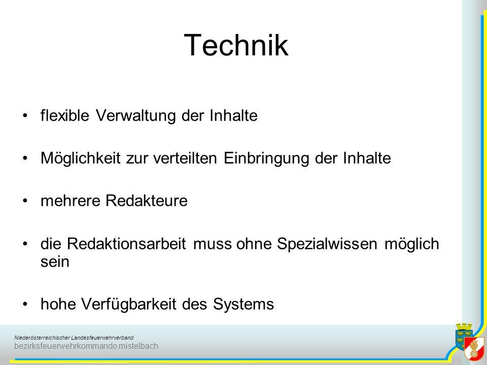 Technik flexible Verwaltung der Inhalte
