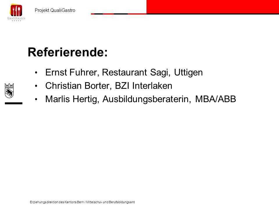 Referierende: Ernst Fuhrer, Restaurant Sagi, Uttigen