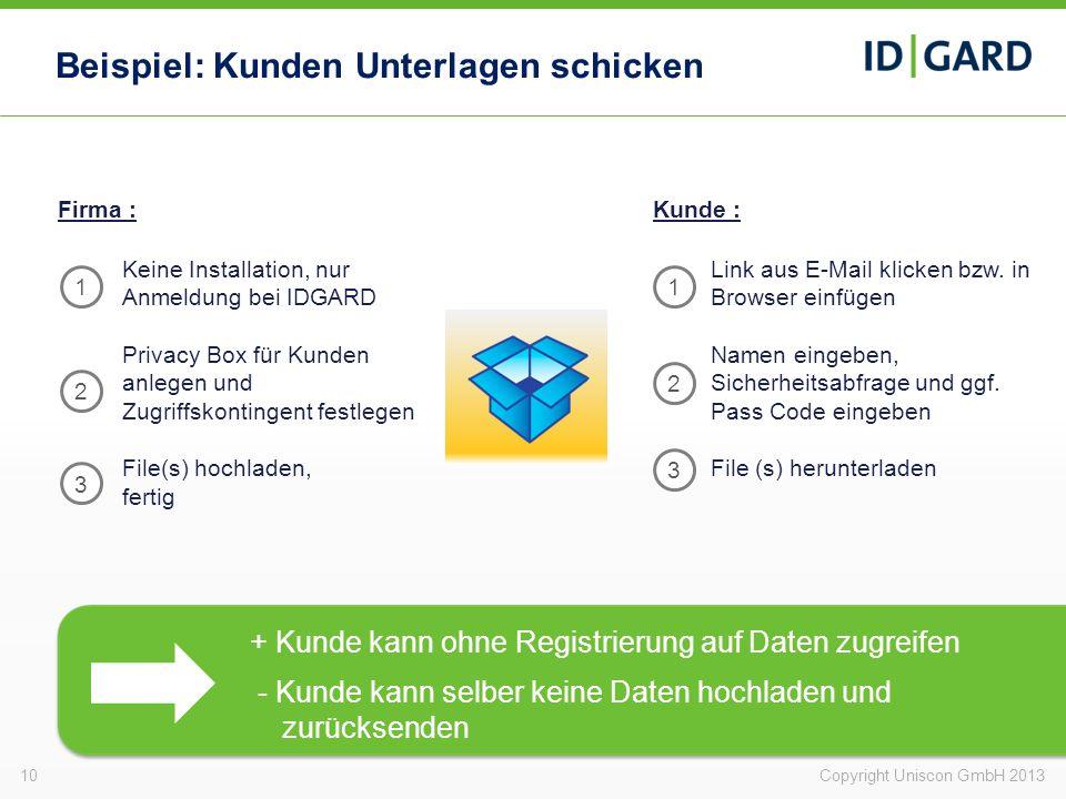 Beispiel: Kunden Unterlagen schicken