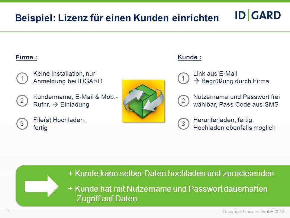Beispiel: Lizenz für einen Kunden einrichten