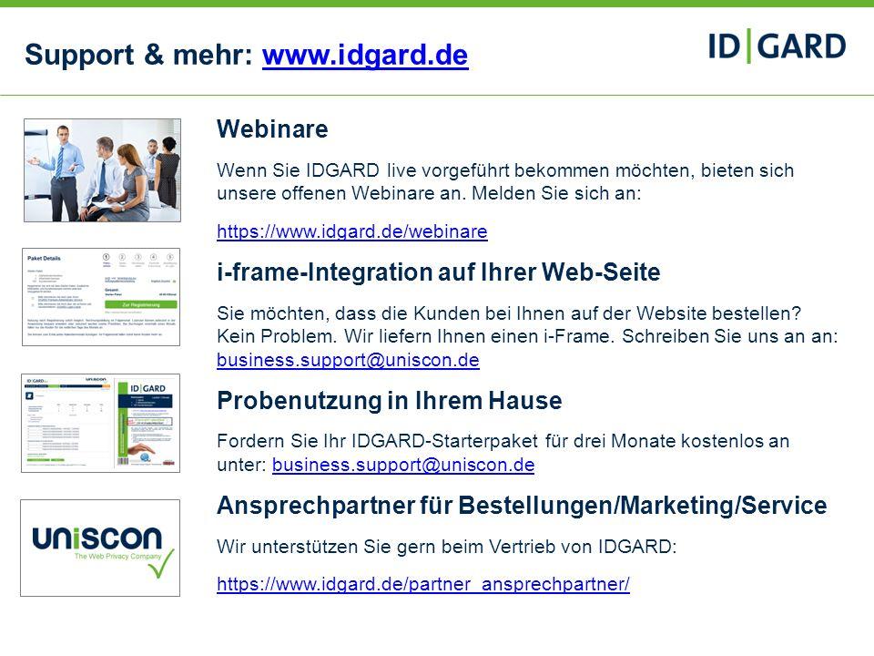 Support & mehr: www.idgard.de