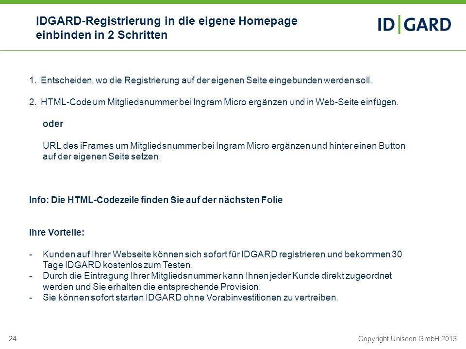 IDGARD-Registrierung in die eigene Homepage einbinden in 2 Schritten
