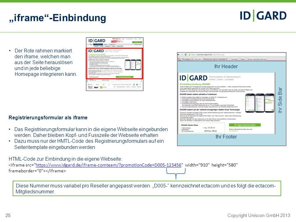 """""""iframe -Einbindung Der Rote rahmen markiert den iframe, welchen man aus der Seite herauslösen und in jede beliebige Homepage integrieren kann."""