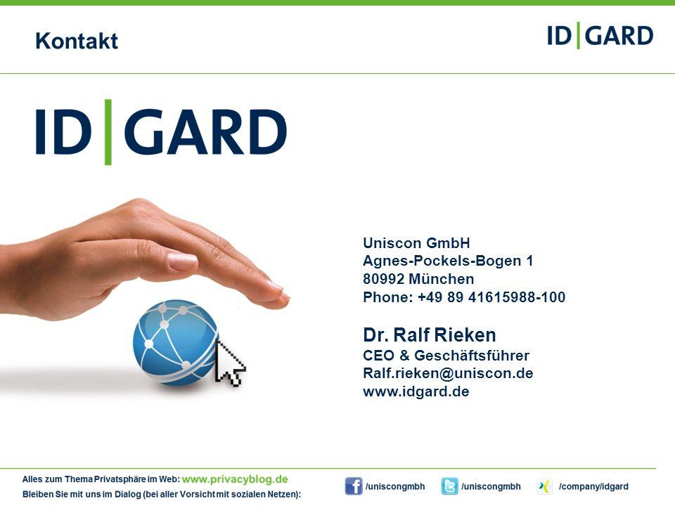 Kontakt Dr. Ralf Rieken Uniscon GmbH Agnes-Pockels-Bogen 1