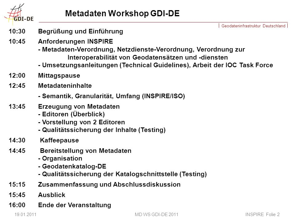 Metadaten Workshop GDI-DE