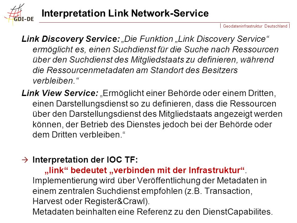 Interpretation Link Network-Service