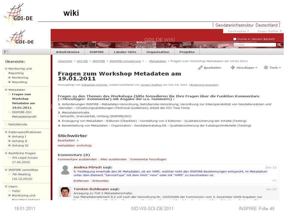 wiki 19.01.2011 MD WS GDI-DE 2011 INSPIRE Folie 45.