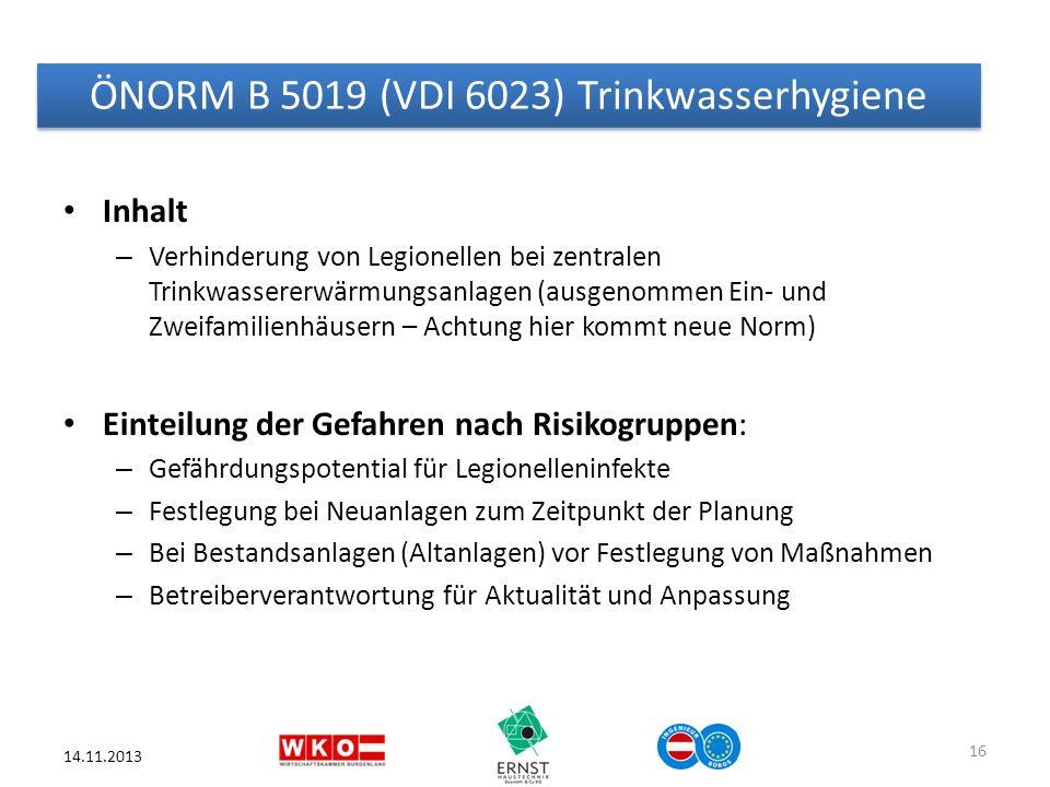 ÖNORM B 5019 (VDI 6023) Trinkwasserhygiene