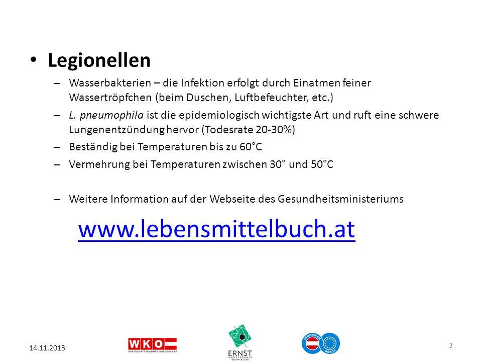 www.lebensmittelbuch.at Legionellen