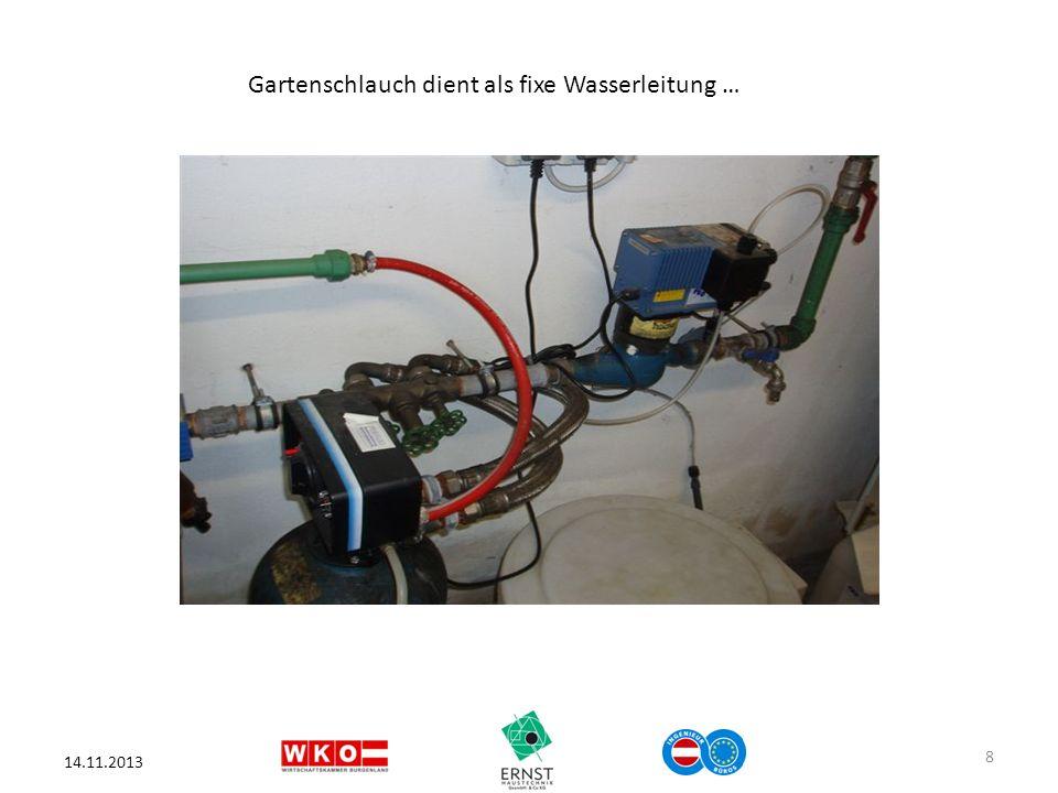 Gartenschlauch dient als fixe Wasserleitung …
