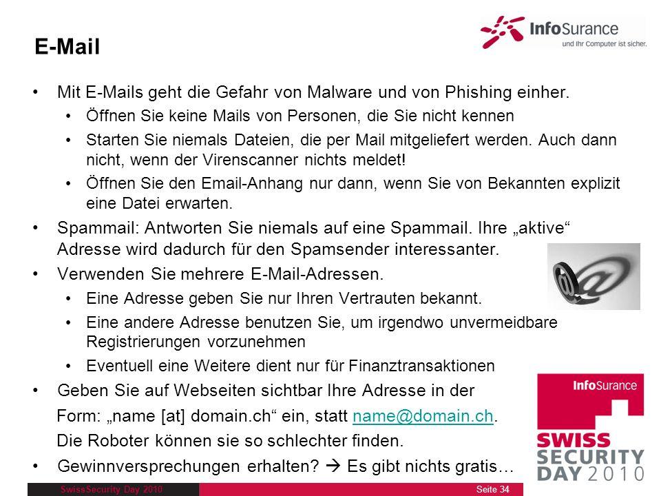 Dokumenttitel 28.03.2017. E-Mail. Mit E-Mails geht die Gefahr von Malware und von Phishing einher.