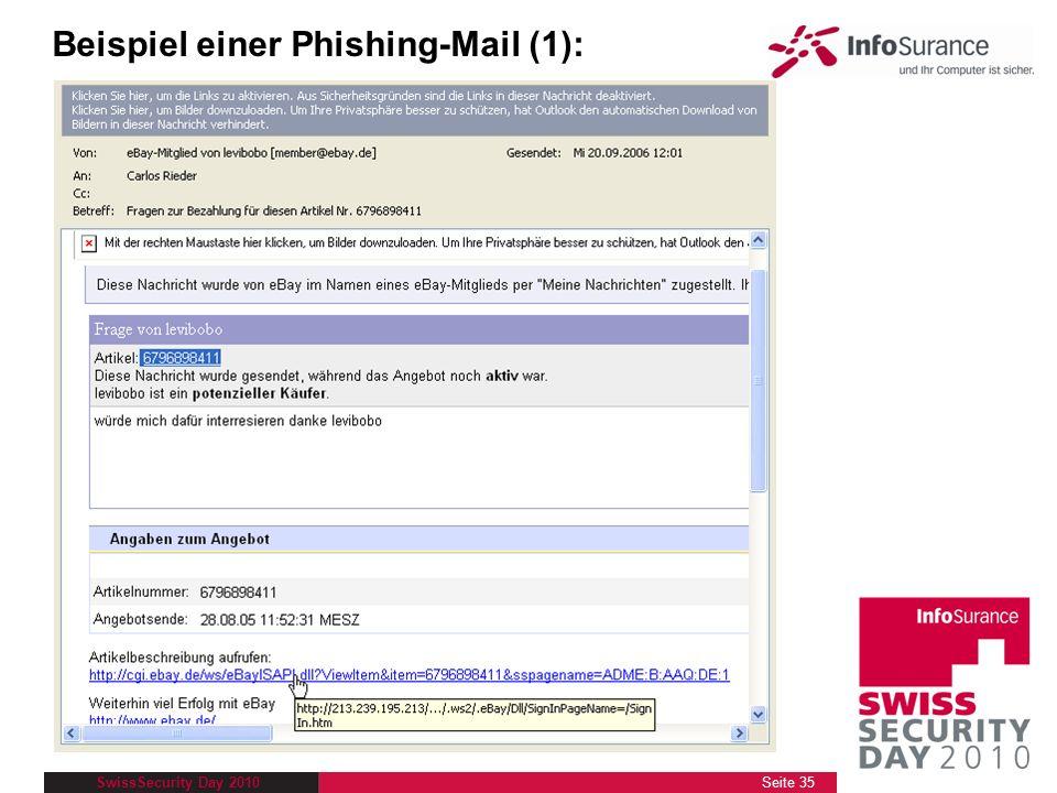 Beispiel einer Phishing-Mail (1):