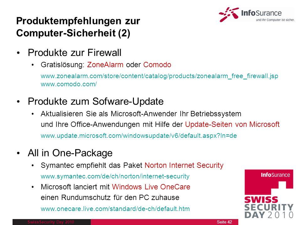 Produktempfehlungen zur Computer-Sicherheit (2)