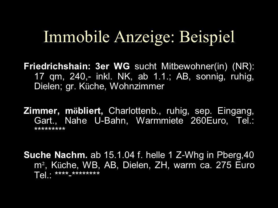 Immobile Anzeige: Beispiel