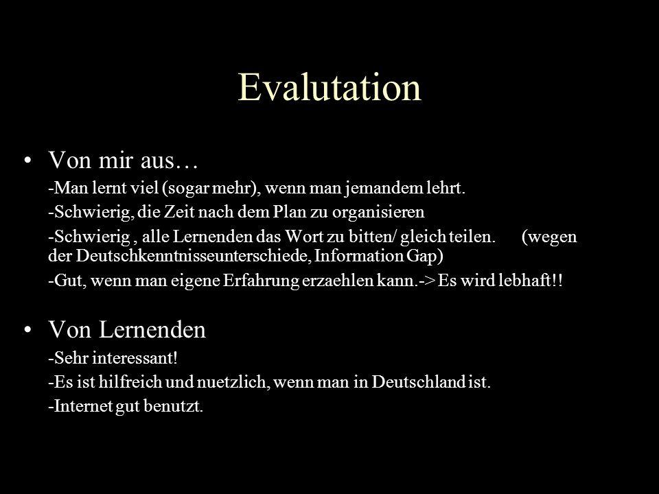 Evalutation Von mir aus… Von Lernenden