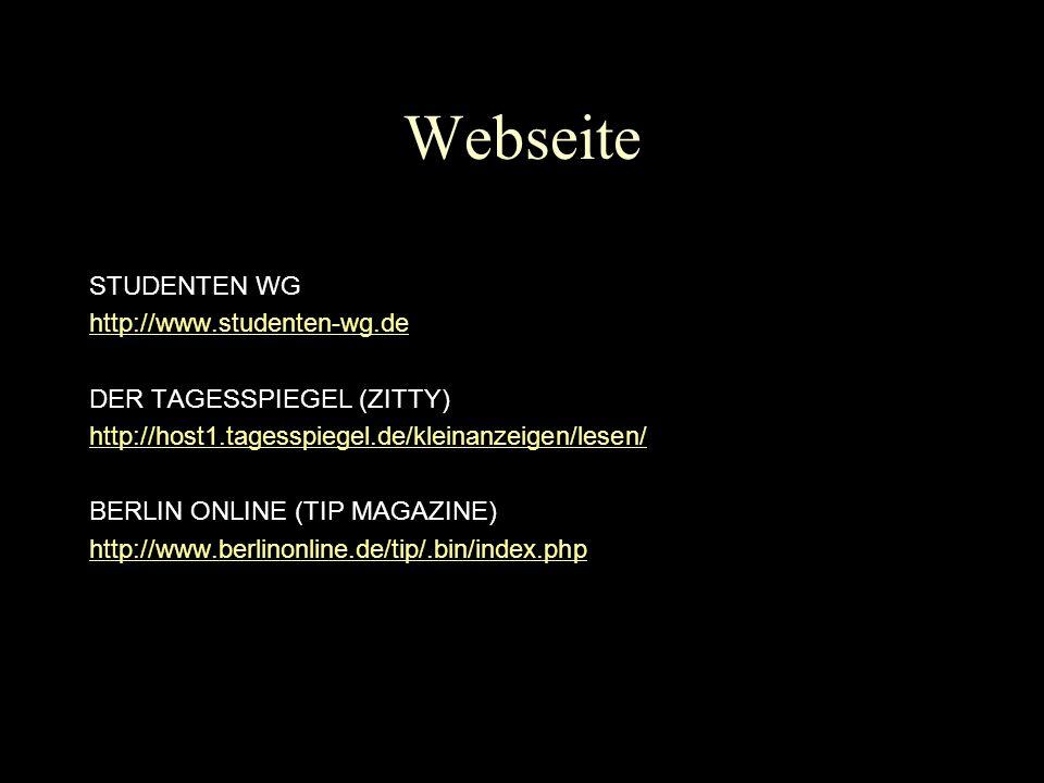 Webseite STUDENTEN WG http://www.studenten-wg.de