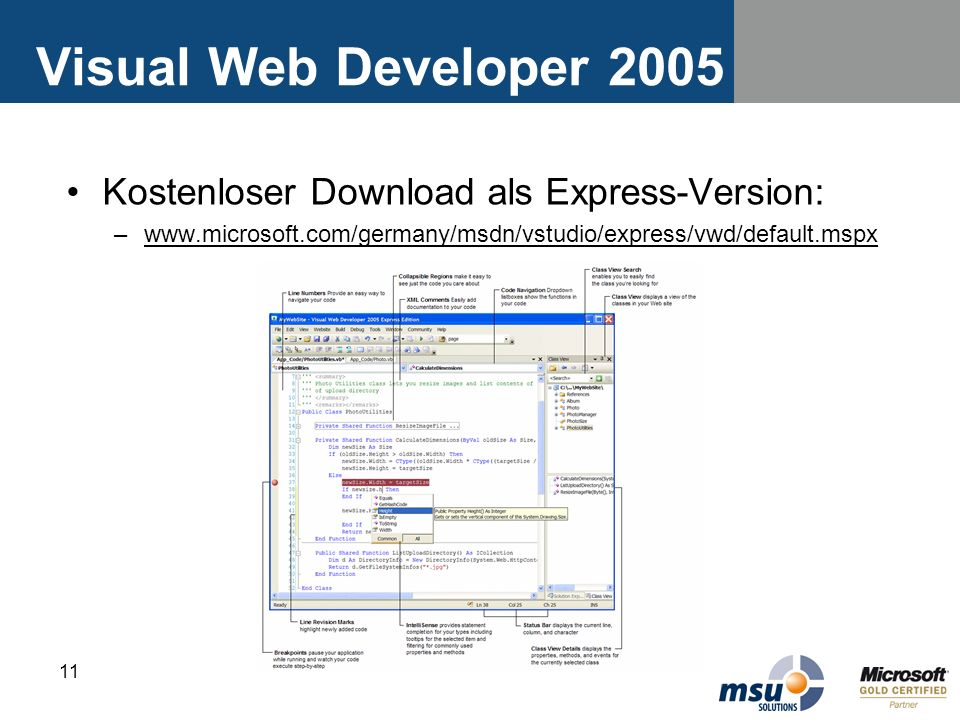 Visual Web Developer 2005 Kostenloser Download als Express-Version: