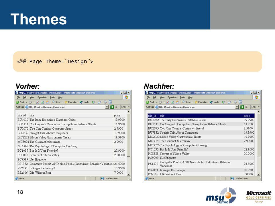 Themes <%@ Page Theme= Design > Vorher: Nachher: