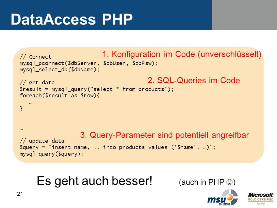 DataAccess PHP Es geht auch besser! (auch in PHP )
