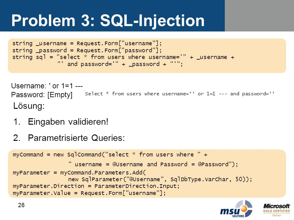 Problem 3: SQL-Injection