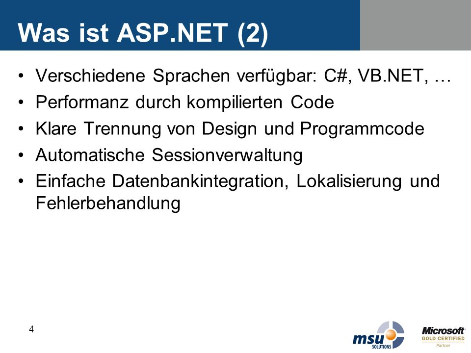 Was ist ASP.NET (2) Verschiedene Sprachen verfügbar: C#, VB.NET, …