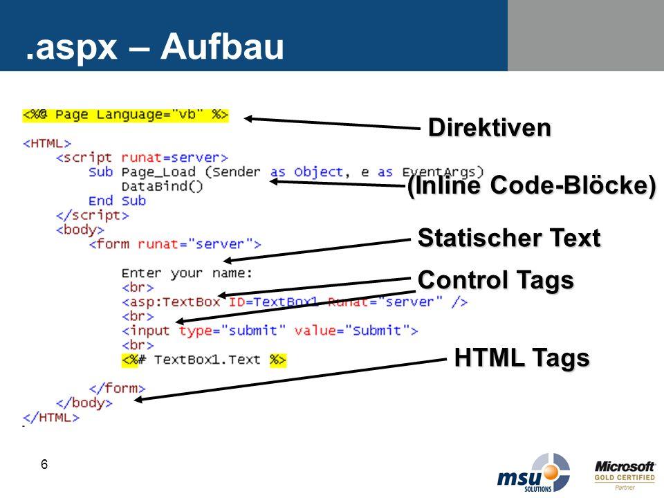 .aspx – Aufbau Direktiven (Inline Code-Blöcke) Statischer Text