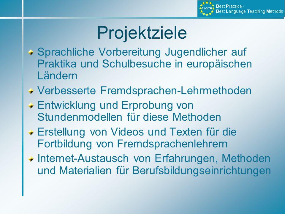 Projektziele Sprachliche Vorbereitung Jugendlicher auf Praktika und Schulbesuche in europäischen Ländern.