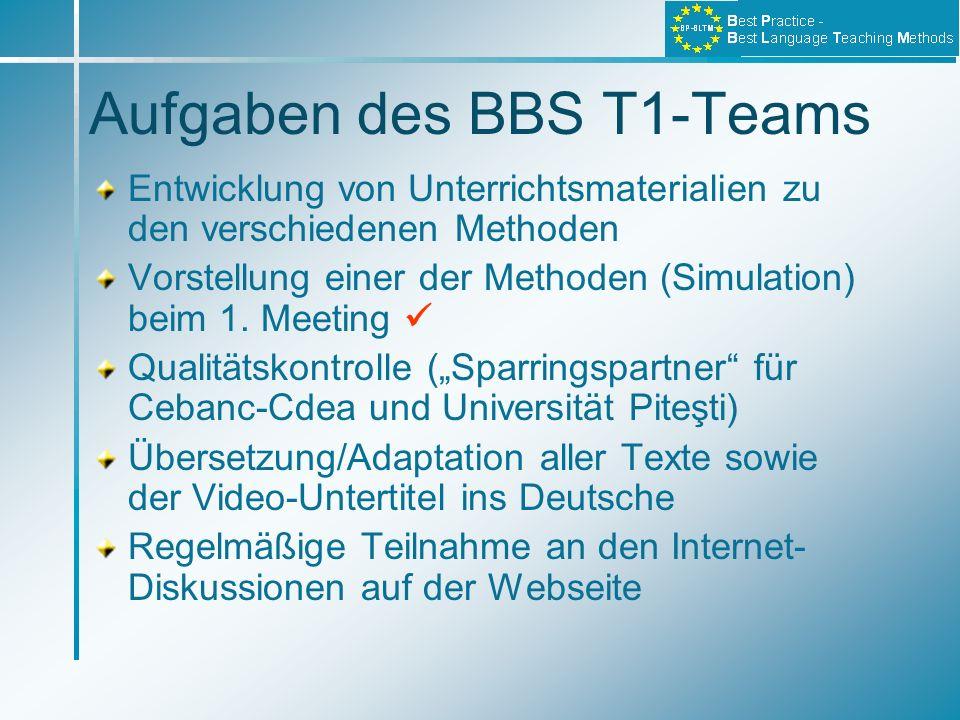 Aufgaben des BBS T1-Teams