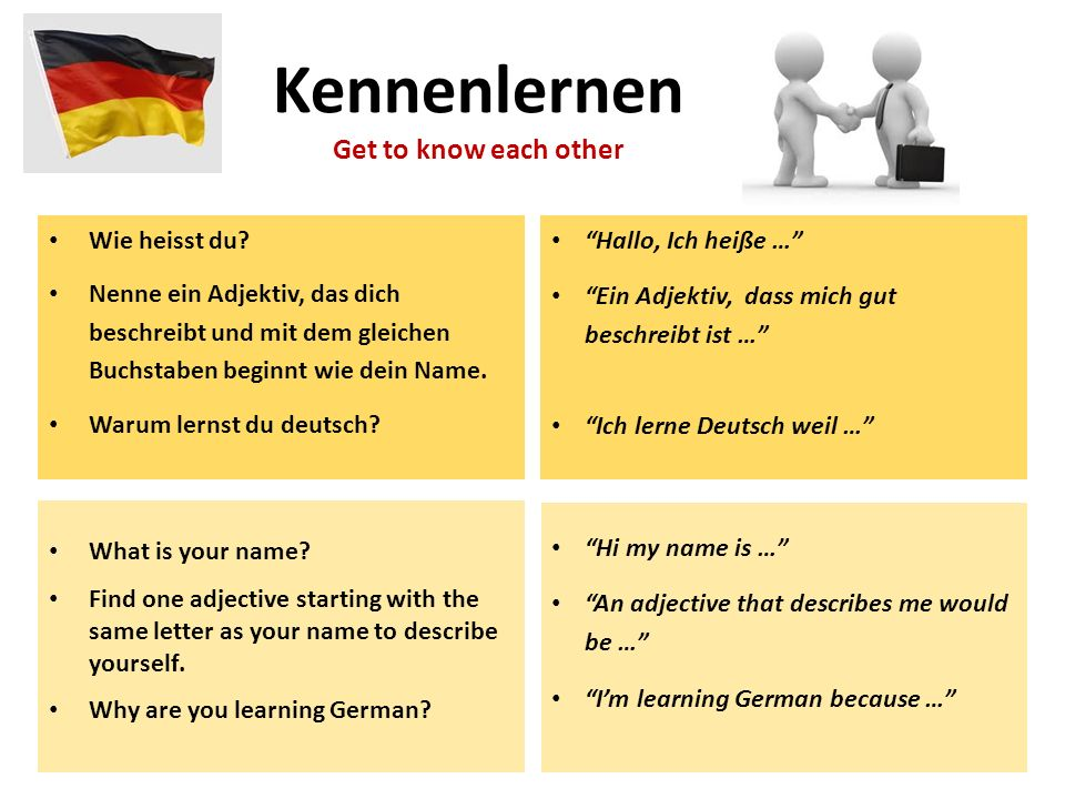 Kennenlernen Get to know each other Wie heisst du