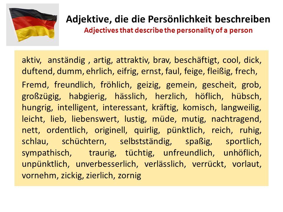 Adjektive, die die Persönlichkeit beschreiben