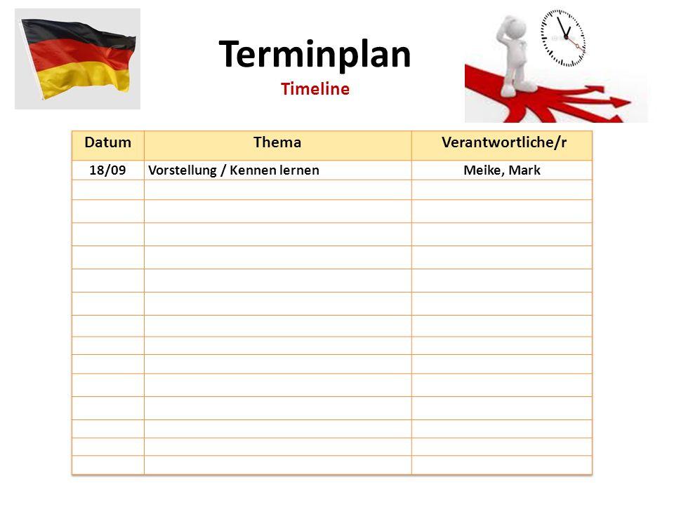 Terminplan Timeline Datum Thema Verantwortliche/r 18/09