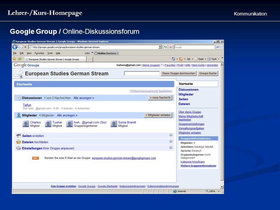 Lehrer-/Kurs-Homepage