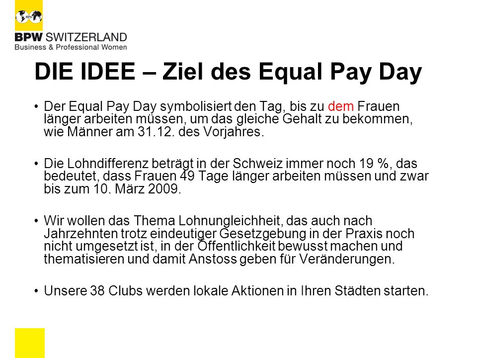 DIE IDEE – Ziel des Equal Pay Day