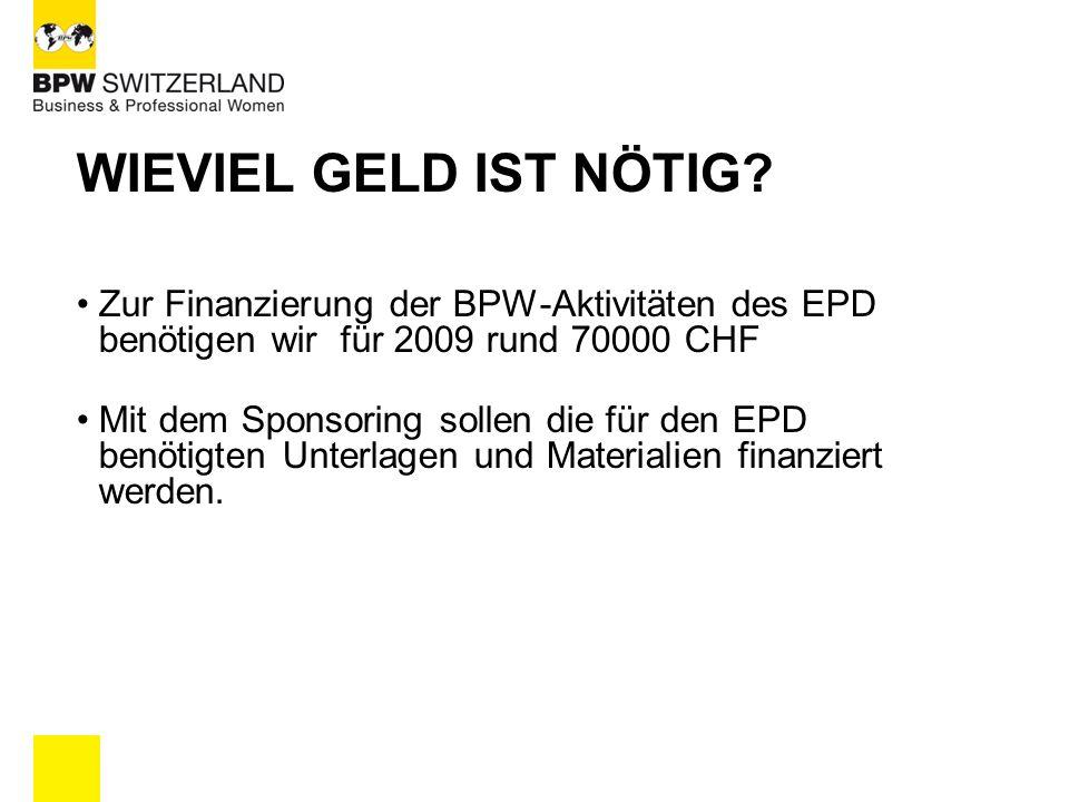 WIEVIEL GELD IST NÖTIG Zur Finanzierung der BPW-Aktivitäten des EPD benötigen wir für 2009 rund 70000 CHF.