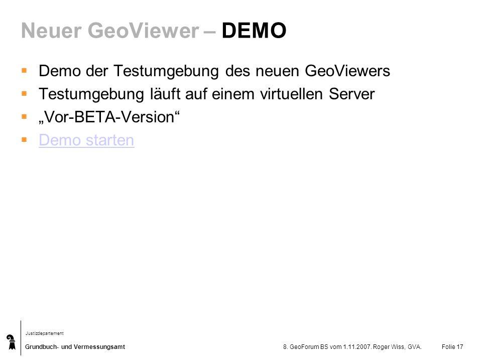 Neuer GeoViewer – DEMO Demo der Testumgebung des neuen GeoViewers