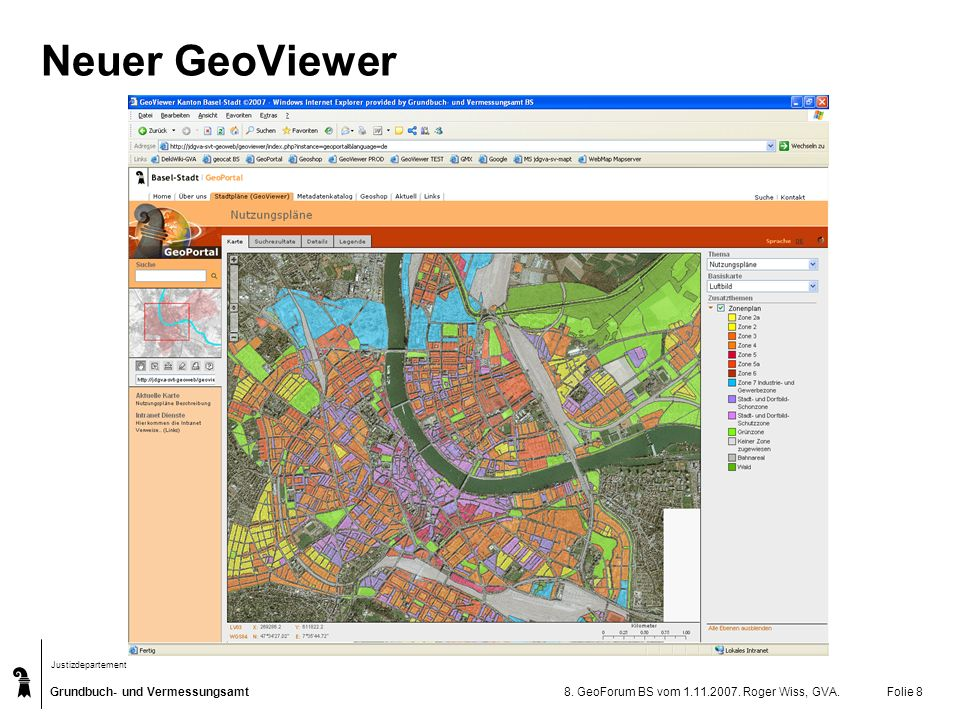 Neuer GeoViewer 8. GeoForum BS vom 1.11.2007. Roger Wiss, GVA.