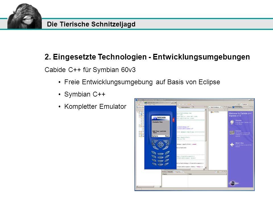 2. Eingesetzte Technologien - Entwicklungsumgebungen