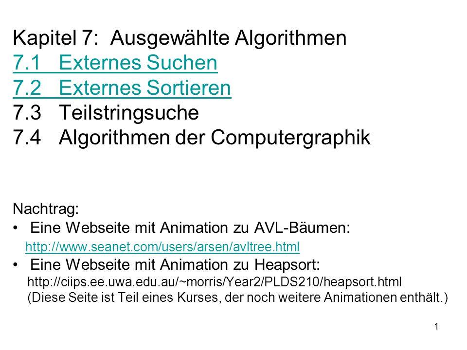 Kapitel 7: Ausgewählte Algorithmen 7.1 Externes Suchen