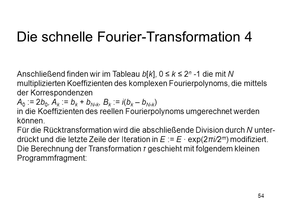Die schnelle Fourier-Transformation 4
