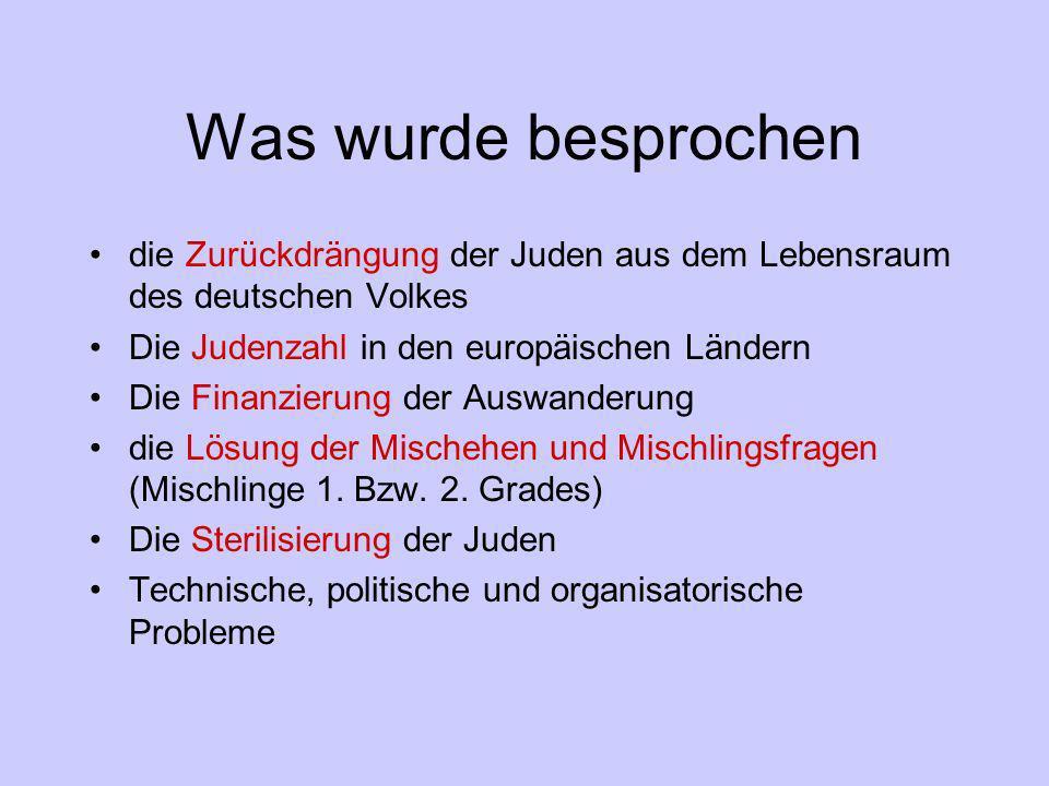 Was wurde besprochen die Zurückdrängung der Juden aus dem Lebensraum des deutschen Volkes. Die Judenzahl in den europäischen Ländern.
